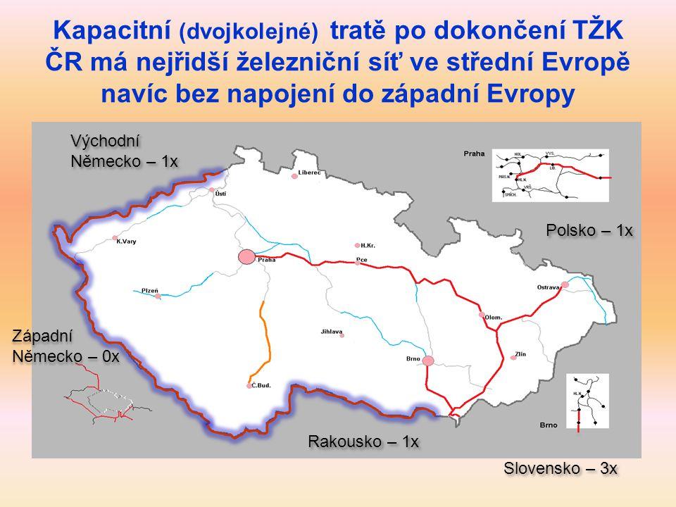Kapacitní (dvojkolejné) tratě po dokončení TŽK ČR má nejřidší železniční síť ve střední Evropě navíc bez napojení do západní Evropy