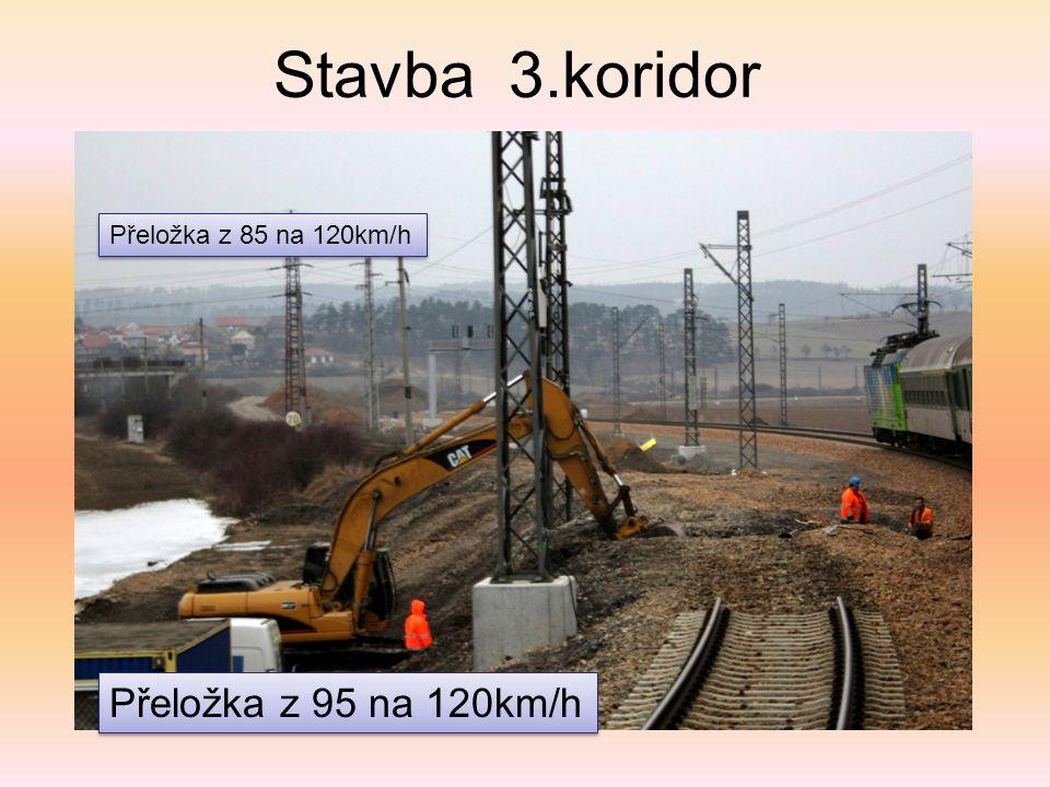 Stavba 3.koridor Přeložka z 85 na 120km/h Přeložka z 95 na 120km/h
