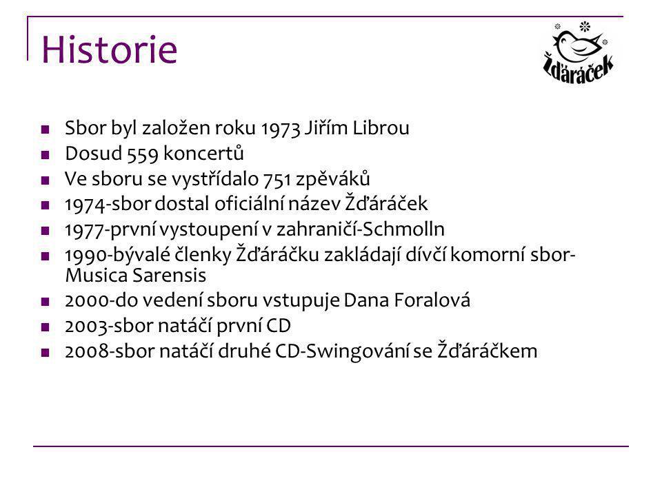 Historie Sbor byl založen roku 1973 Jiřím Librou Dosud 559 koncertů