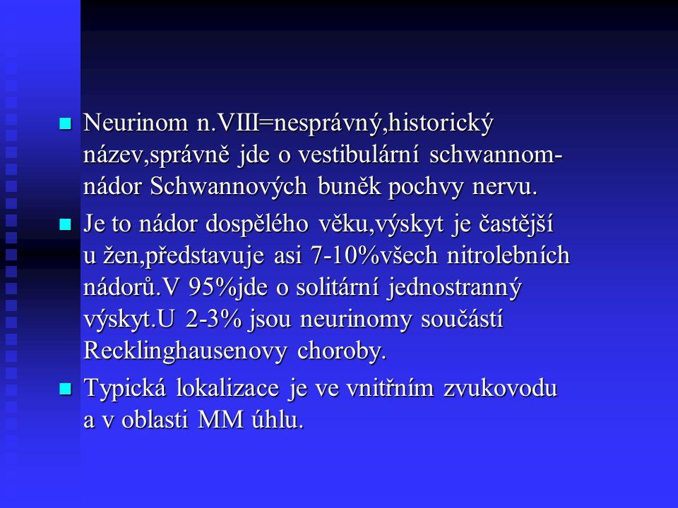 Neurinom n.VIII=nesprávný,historický název,správně jde o vestibulární schwannom- nádor Schwannových buněk pochvy nervu.