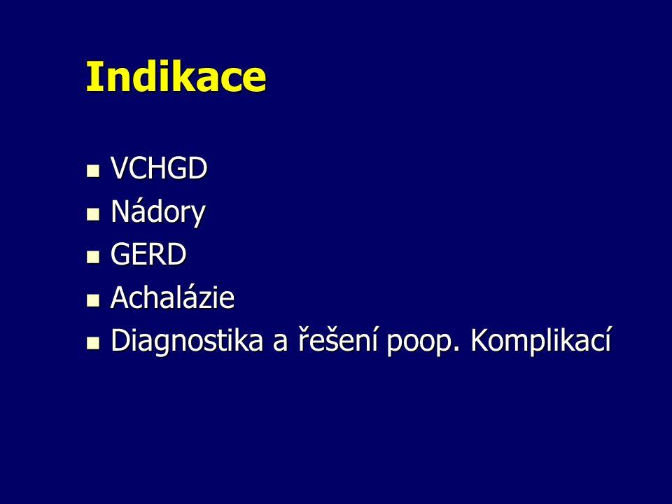 Indikace VCHGD Nádory GERD Achalázie