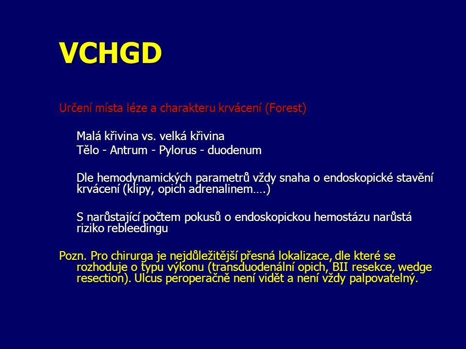 VCHGD Určení místa léze a charakteru krvácení (Forest)
