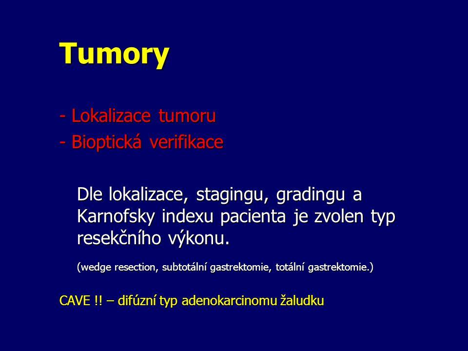 Tumory - Lokalizace tumoru - Bioptická verifikace