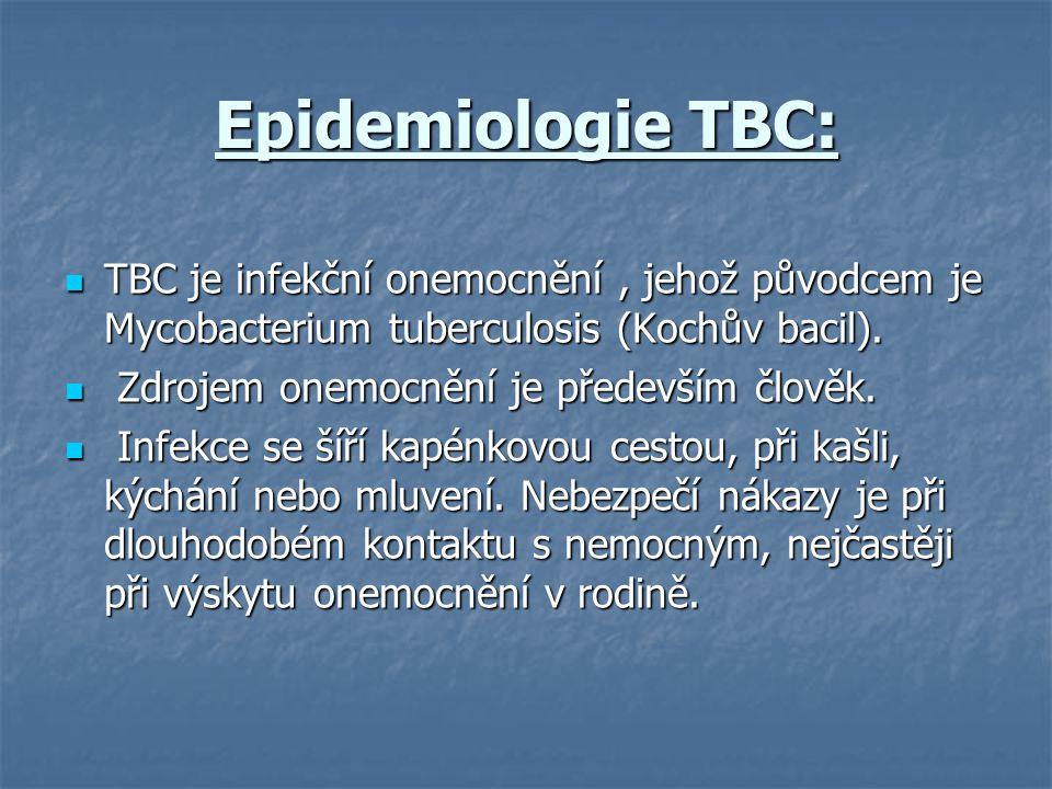 Epidemiologie TBC: TBC je infekční onemocnění , jehož původcem je Mycobacterium tuberculosis (Kochův bacil).