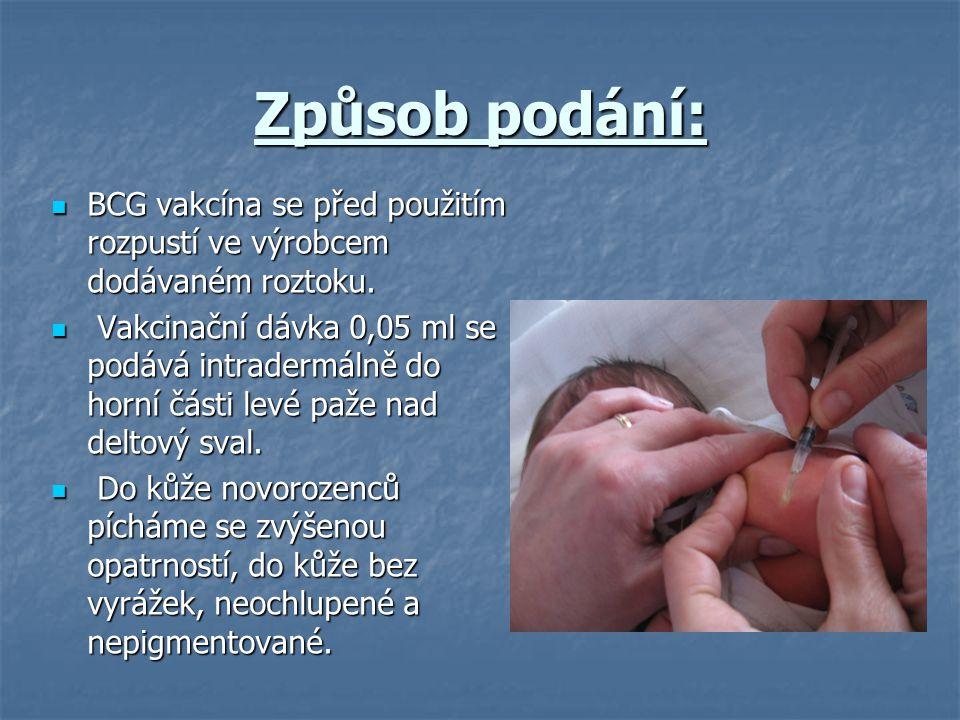 Způsob podání: BCG vakcína se před použitím rozpustí ve výrobcem dodávaném roztoku.