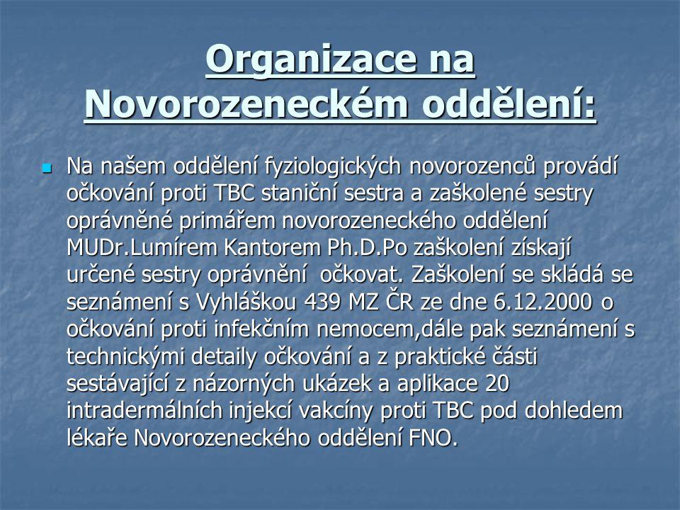 Organizace na Novorozeneckém oddělení: