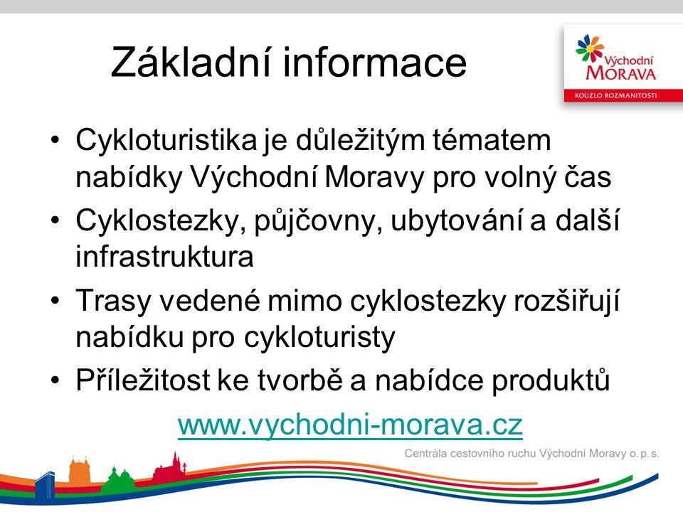 Základní informace Cykloturistika je důležitým tématem nabídky Východní Moravy pro volný čas.