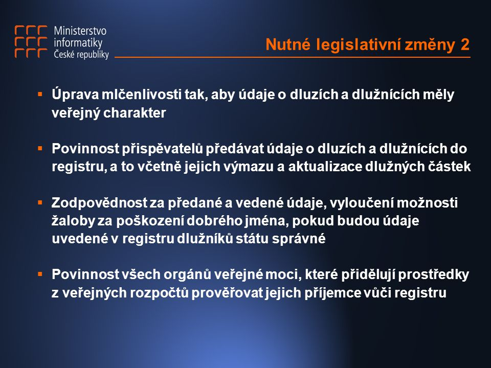 Nutné legislativní změny 2
