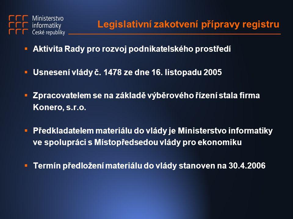 Legislativní zakotvení přípravy registru