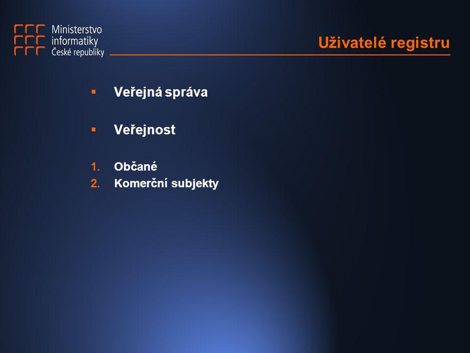 Uživatelé registru Veřejná správa Veřejnost Občané Komerční subjekty