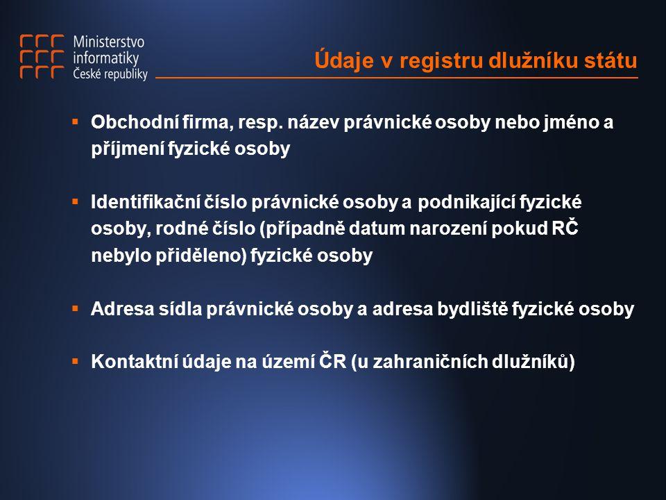 Údaje v registru dlužníku státu