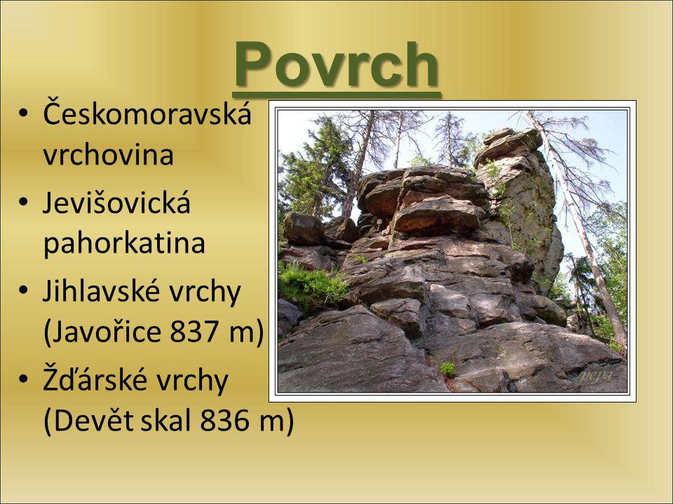Povrch Českomoravská vrchovina Jevišovická pahorkatina
