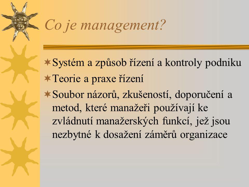 Co je management Systém a způsob řízení a kontroly podniku