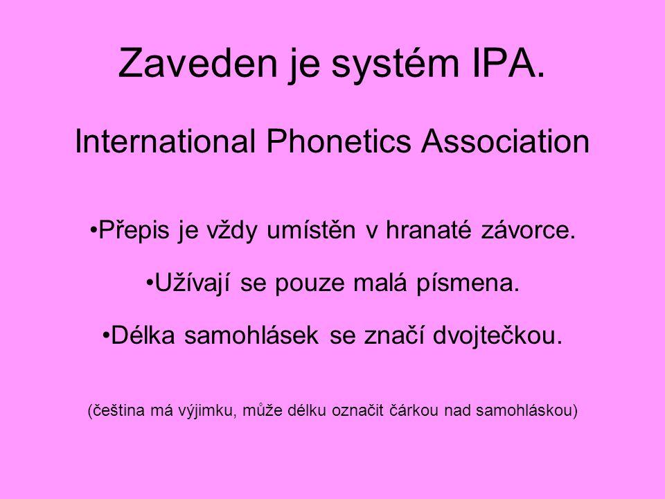 Zaveden je systém IPA. International Phonetics Association