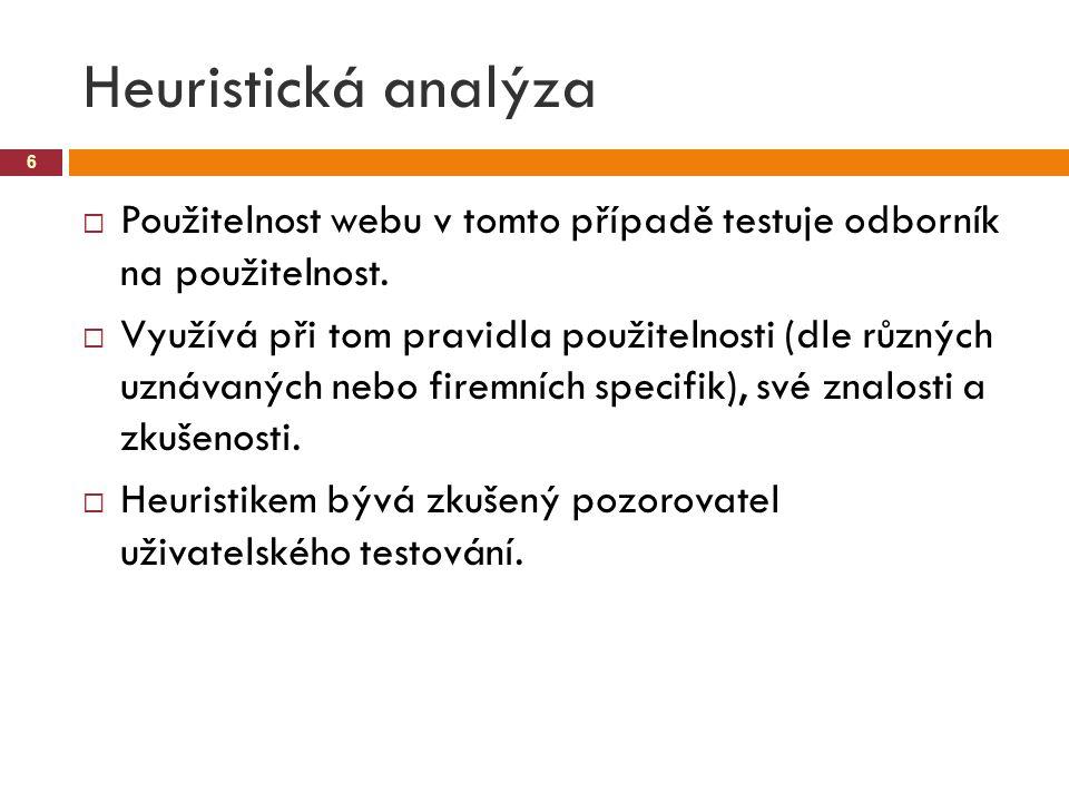 Heuristická analýza Použitelnost webu v tomto případě testuje odborník na použitelnost.