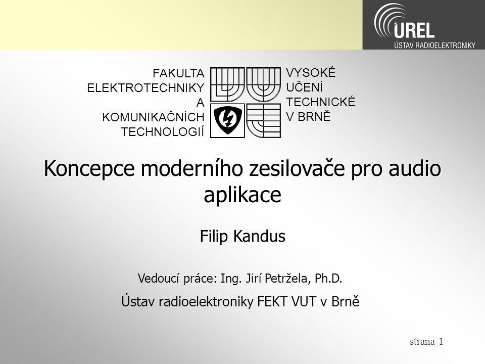 Koncepce moderního zesilovače pro audio aplikace