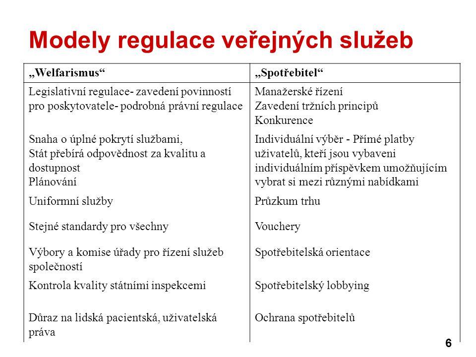 Modely regulace veřejných služeb