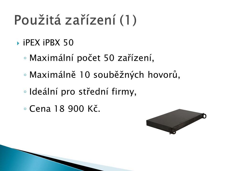 Použitá zařízení (1) Maximální počet 50 zařízení,