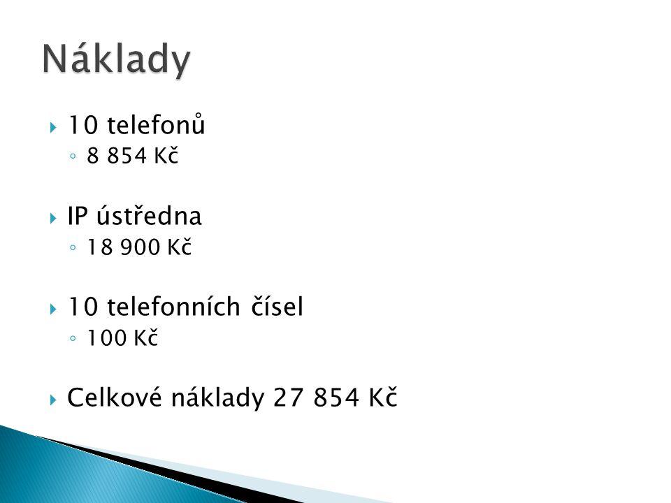 Náklady 10 telefonů IP ústředna 10 telefonních čísel