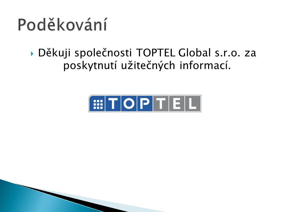 Poděkování Děkuji společnosti TOPTEL Global s.r.o. za poskytnutí užitečných informací.