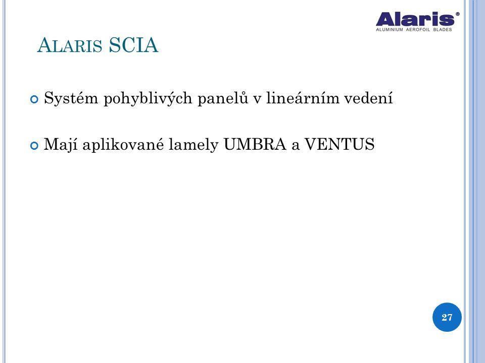 Alaris SCIA Systém pohyblivých panelů v lineárním vedení