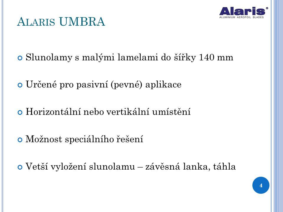 Alaris UMBRA Slunolamy s malými lamelami do šířky 140 mm