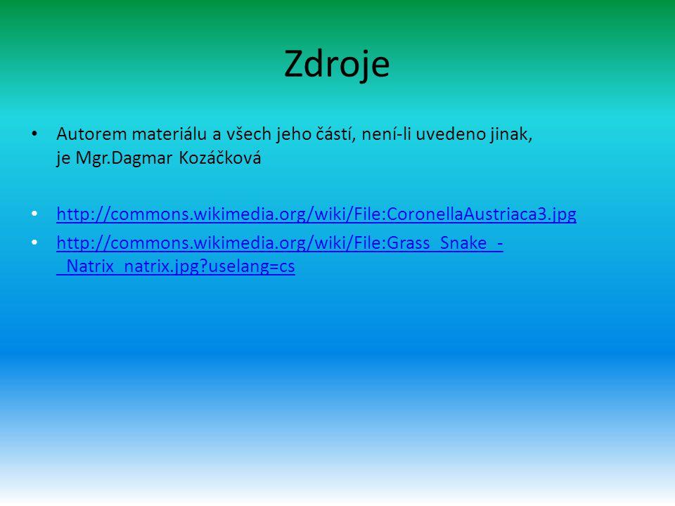 Zdroje Autorem materiálu a všech jeho částí, není-li uvedeno jinak, je Mgr.Dagmar Kozáčková.