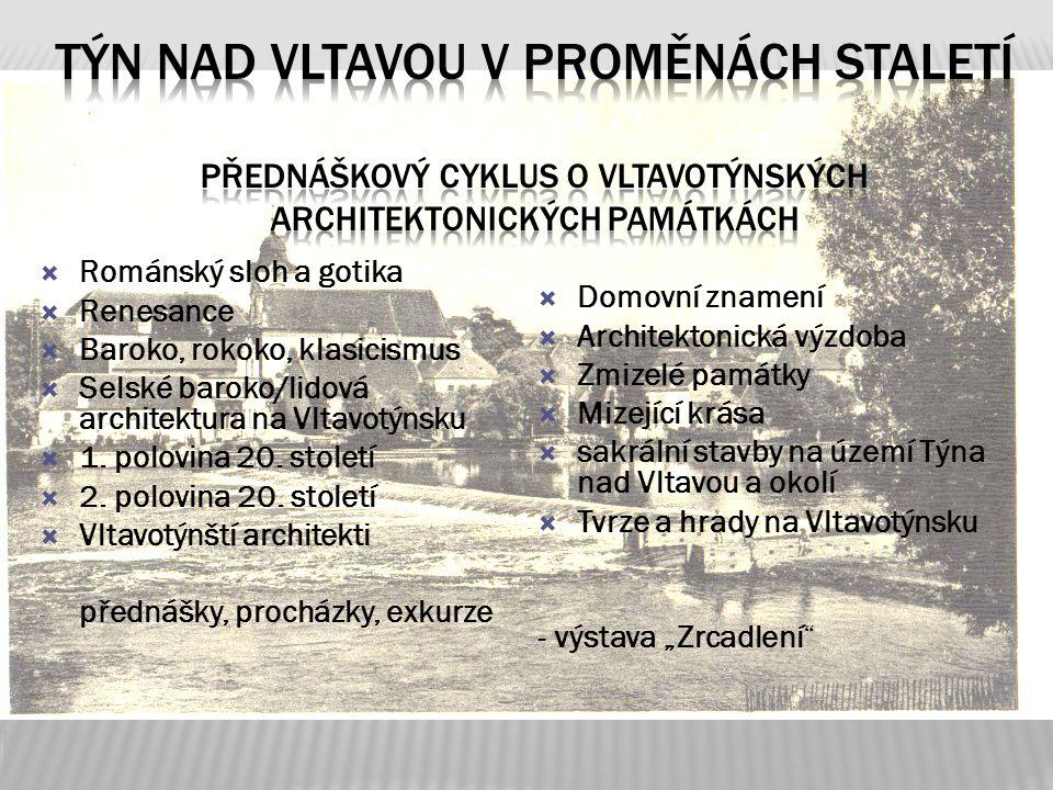Týn nad Vltavou v proměnách staletí přednáškový cyklus o vltavotýnských architektonických památkách