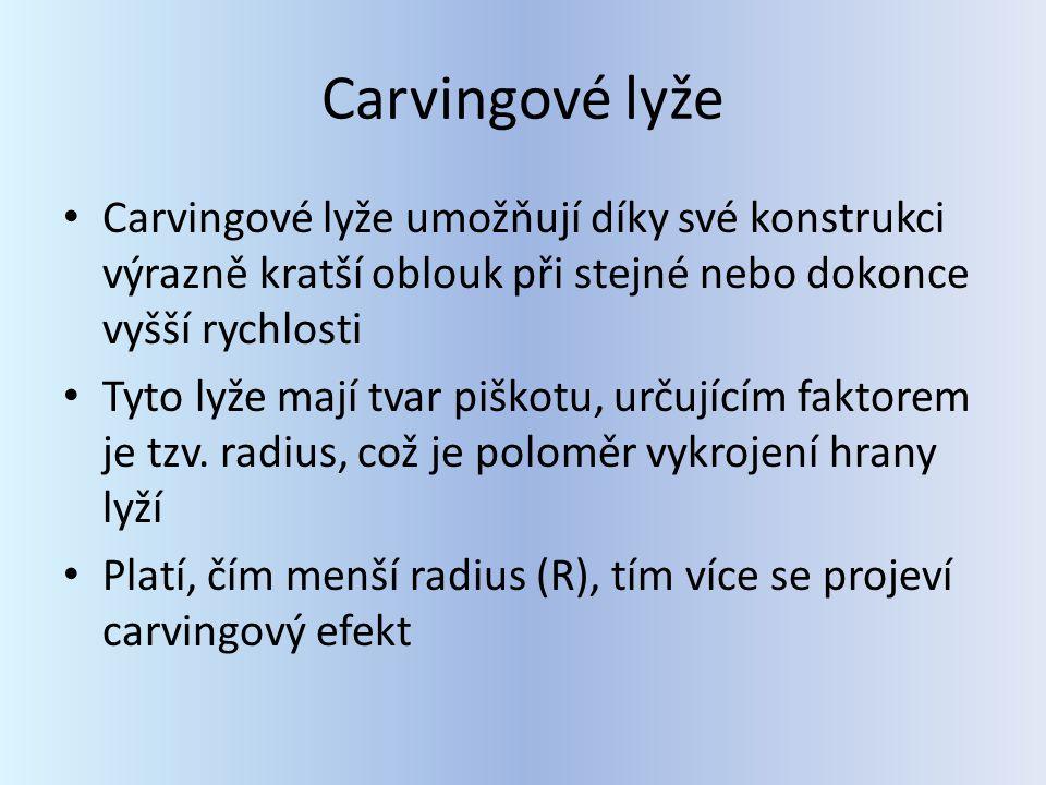 Carvingové lyže Carvingové lyže umožňují díky své konstrukci výrazně kratší oblouk při stejné nebo dokonce vyšší rychlosti.
