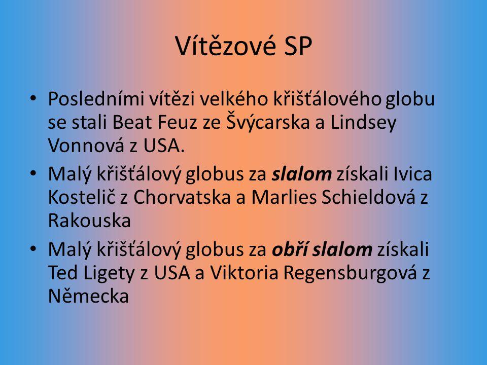 Vítězové SP Posledními vítězi velkého křišťálového globu se stali Beat Feuz ze Švýcarska a Lindsey Vonnová z USA.