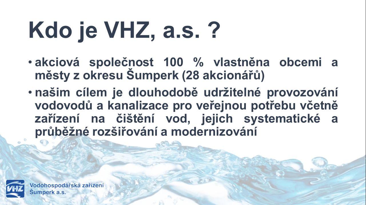 Kdo je VHZ, a.s. akciová společnost 100 % vlastněna obcemi a městy z okresu Šumperk (28 akcionářů)