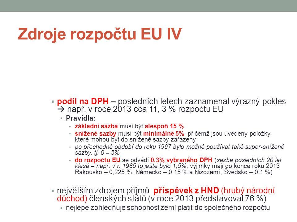 Zdroje rozpočtu EU IV podíl na DPH – posledních letech zaznamenal výrazný pokles  např. v roce 2013 cca 11, 3 % rozpočtu EU.