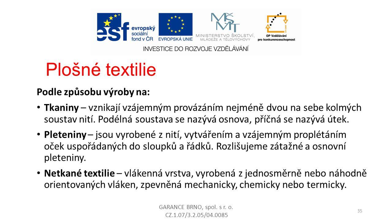 Plošné textilie Podle způsobu výroby na: