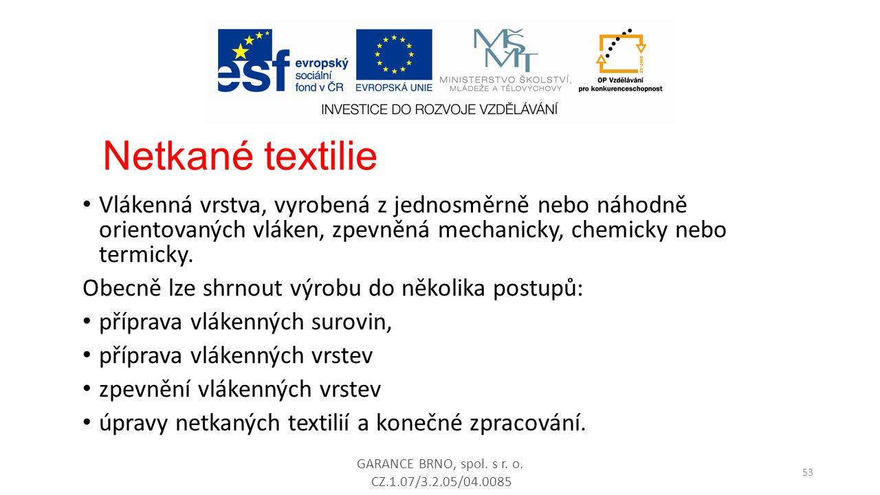 Netkané textilie Vlákenná vrstva, vyrobená z jednosměrně nebo náhodně orientovaných vláken, zpevněná mechanicky, chemicky nebo termicky.