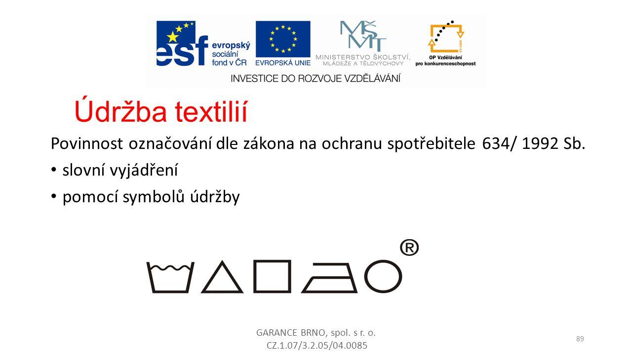 Údržba textilií Povinnost označování dle zákona na ochranu spotřebitele 634/ 1992 Sb. slovní vyjádření.