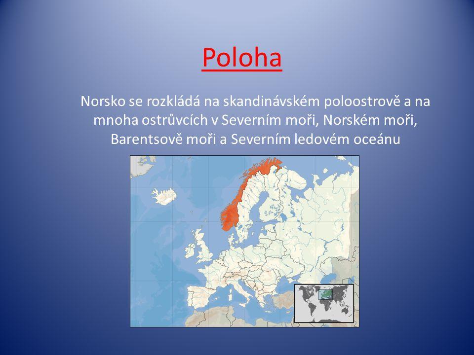 Poloha Norsko se rozkládá na skandinávském poloostrově a na mnoha ostrůvcích v Severním moři, Norském moři, Barentsově moři a Severním ledovém oceánu.