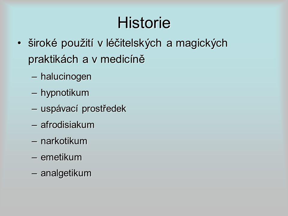 Historie široké použití v léčitelských a magických praktikách a v medicíně. halucinogen. hypnotikum.