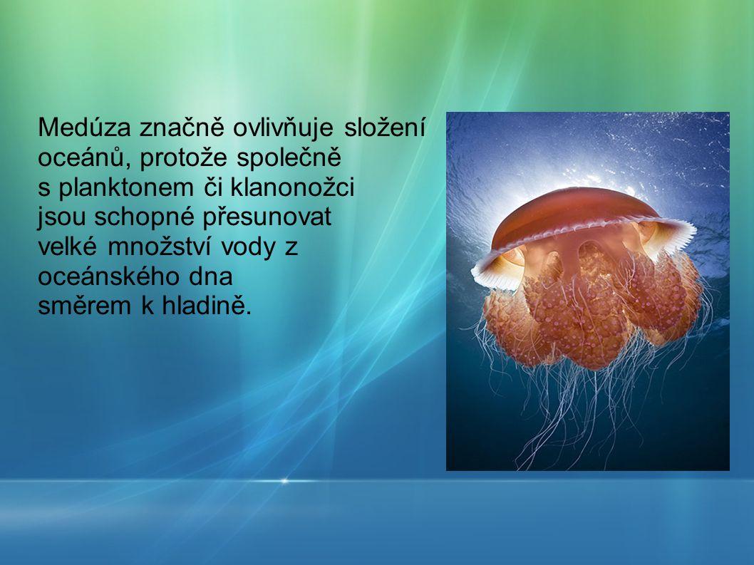 Medúza značně ovlivňuje složení