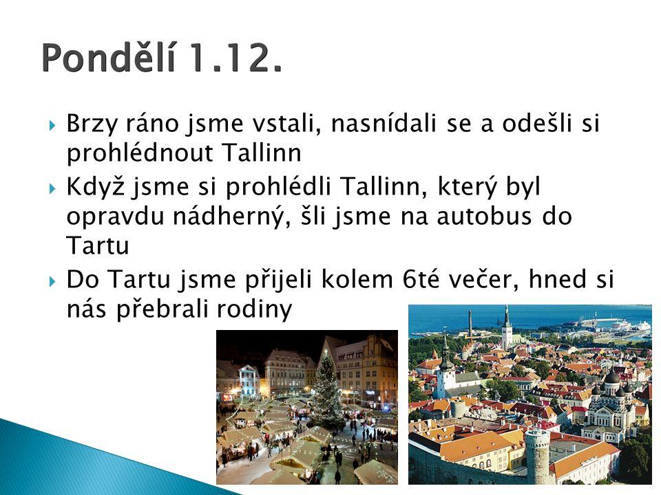 Pondělí 1.12. Brzy ráno jsme vstali, nasnídali se a odešli si prohlédnout Tallinn.