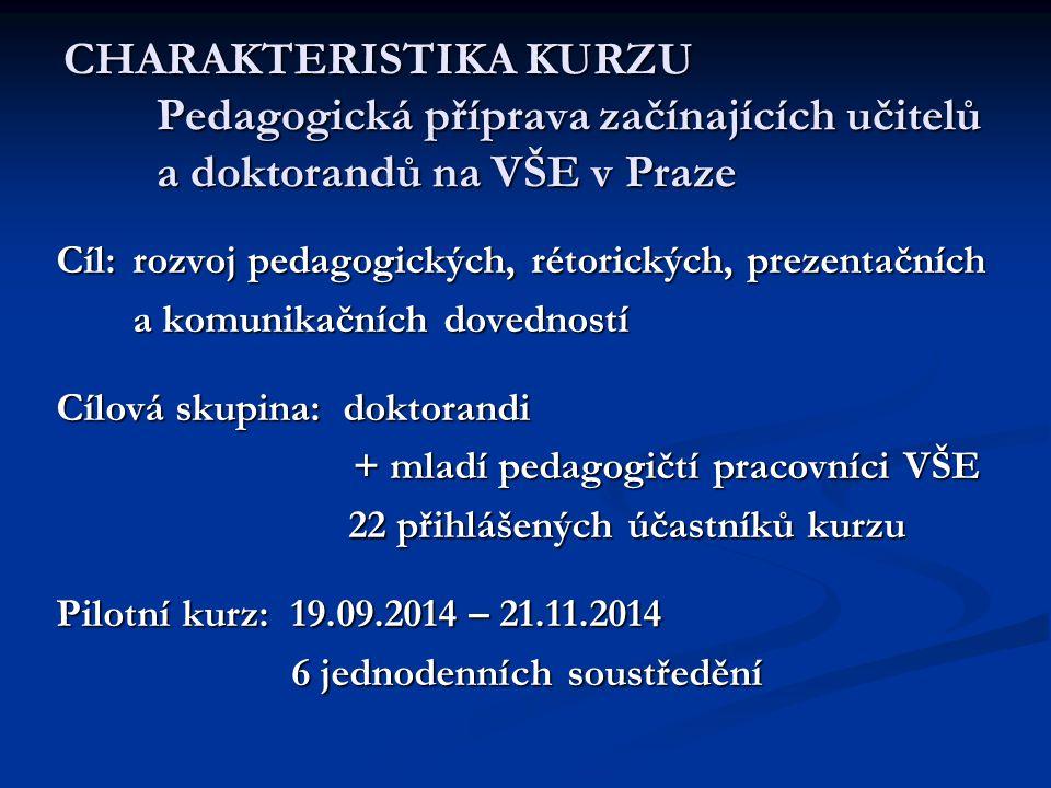 CHARAKTERISTIKA KURZU Pedagogická příprava začínajících učitelů a doktorandů na VŠE v Praze