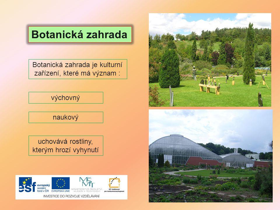 Botanická zahrada je kulturní zařízení, které má význam :
