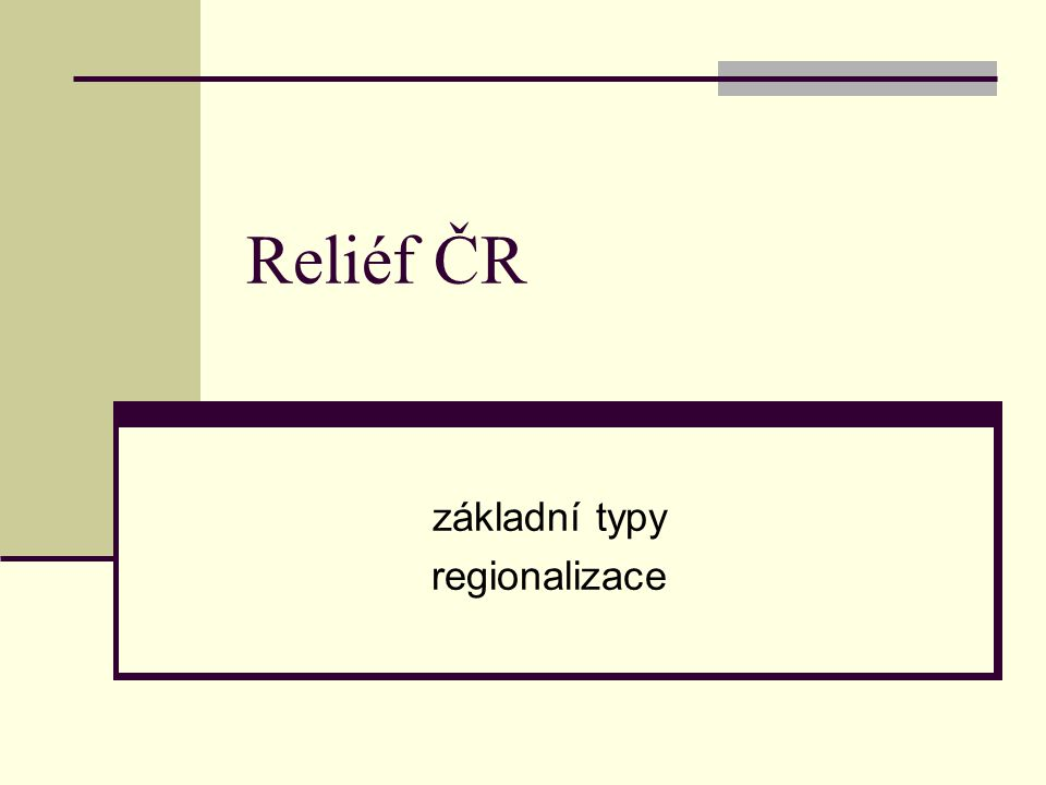 základní typy regionalizace