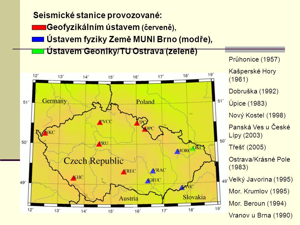 Seismické stanice provozované: Geofyzikálním ústavem (červeně),