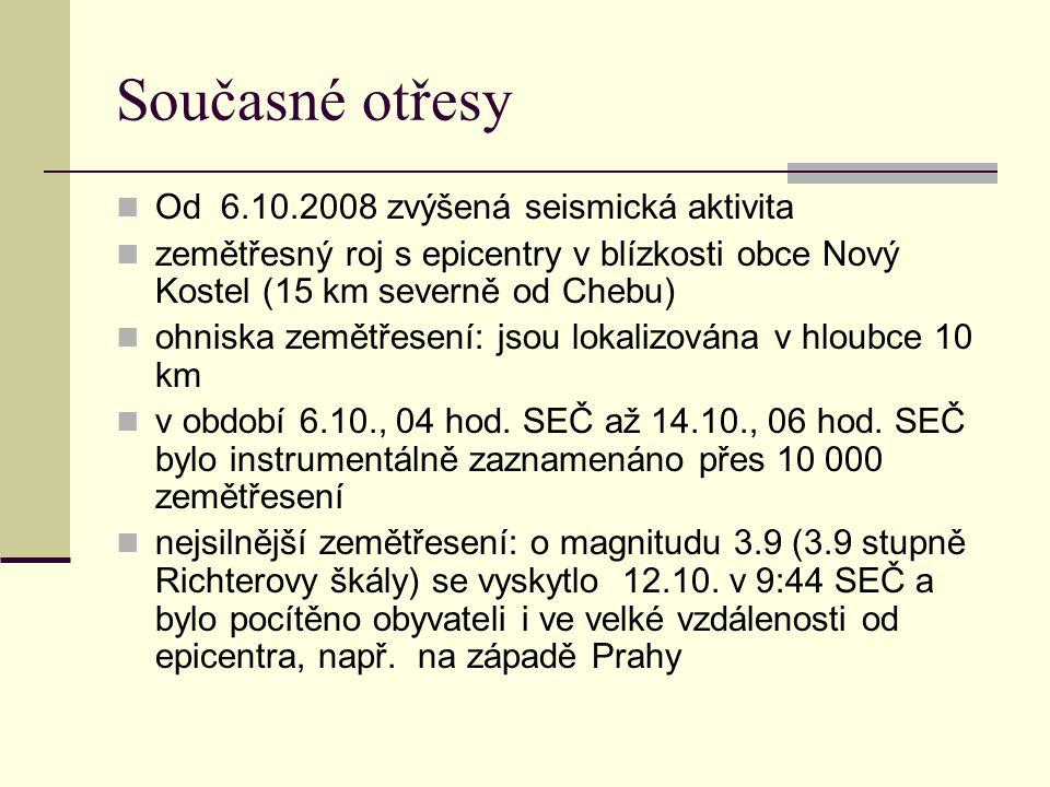 Současné otřesy Od 6.10.2008 zvýšená seismická aktivita