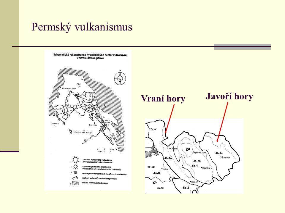Permský vulkanismus Javoří hory Vraní hory