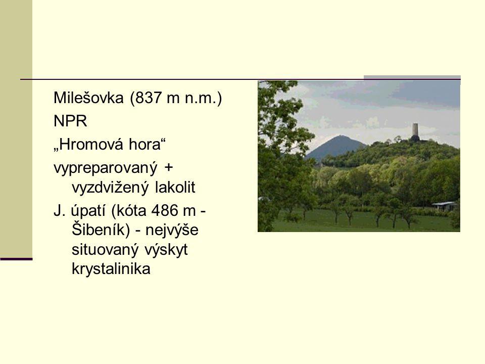 """Milešovka (837 m n.m.) NPR. """"Hromová hora vypreparovaný + vyzdvižený lakolit."""