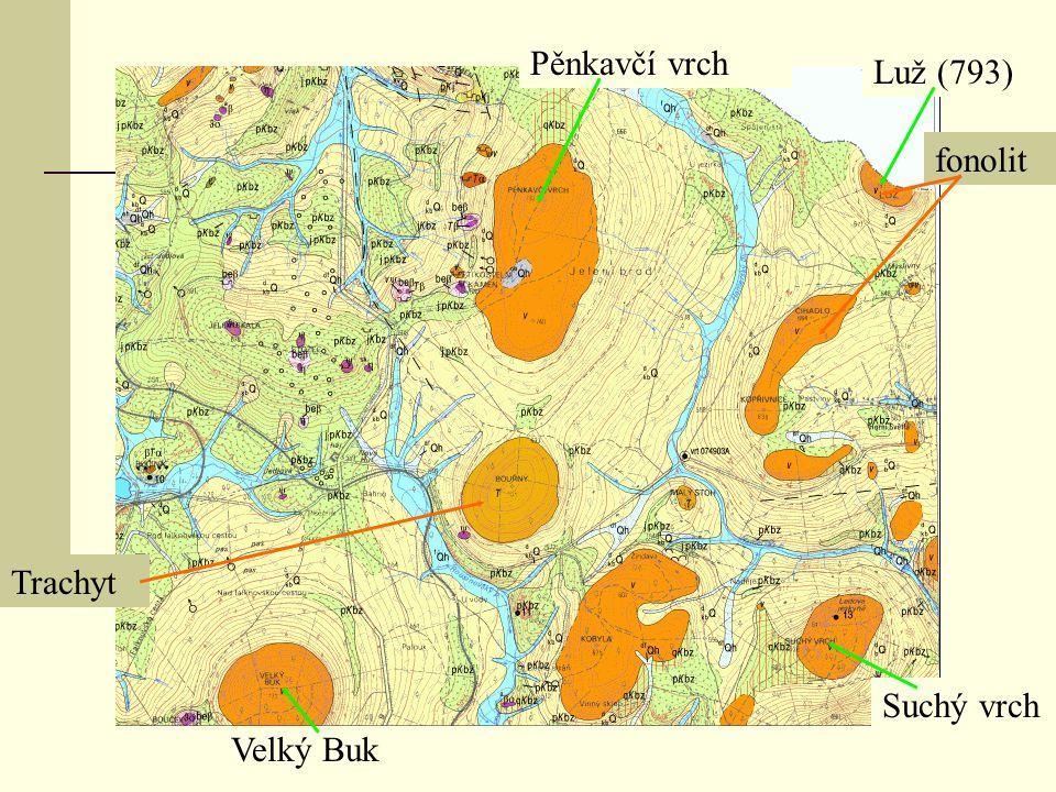 Pěnkavčí vrch Luž (793) fonolit Trachyt Suchý vrch Velký Buk
