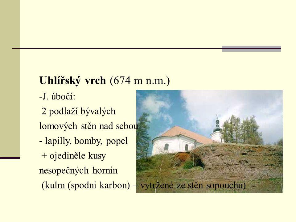 Uhlířský vrch (674 m n.m.) J. úbočí: 2 podlaží bývalých