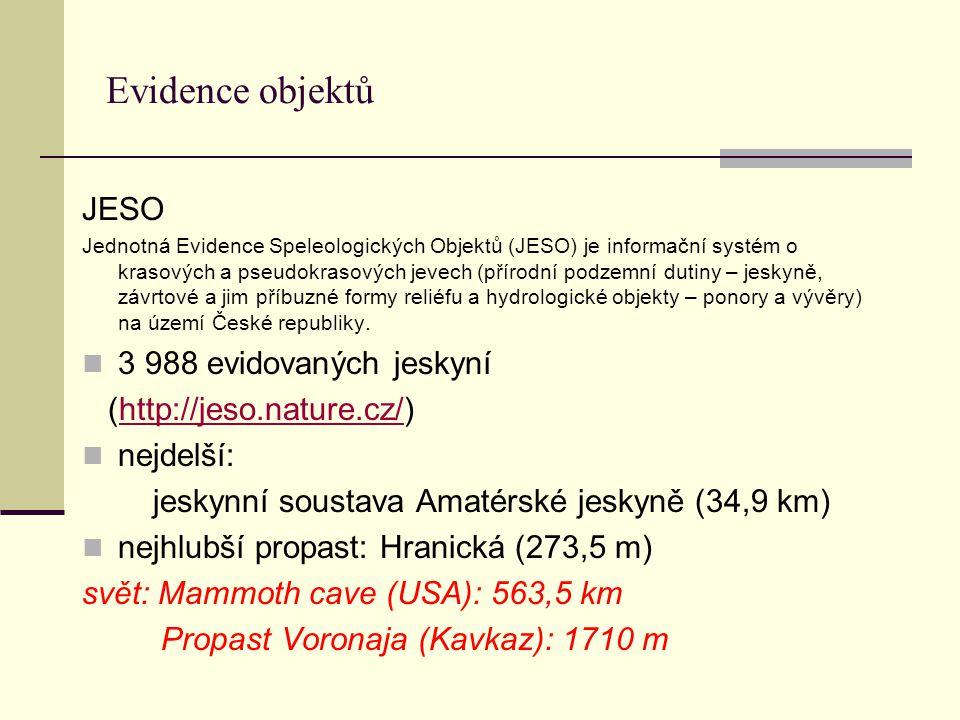 Evidence objektů JESO 3 988 evidovaných jeskyní