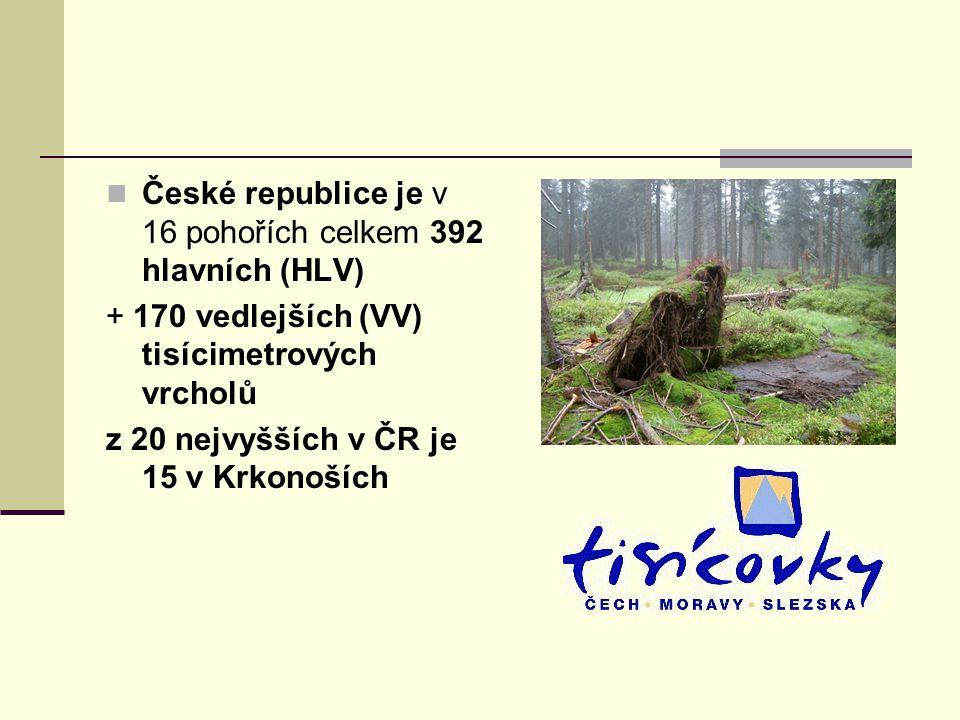 České republice je v 16 pohořích celkem 392 hlavních (HLV)